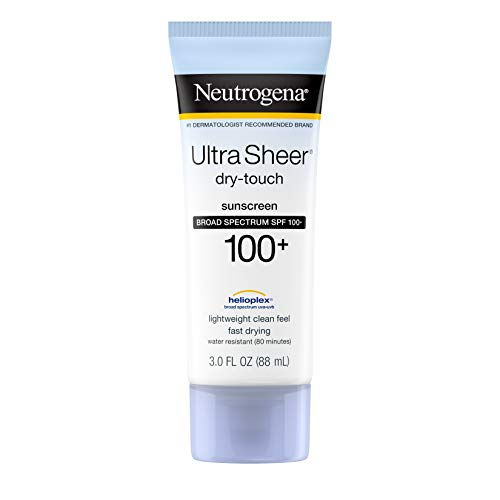 Neutrogena Ultra Sheer Dry-Touch Water Resistant and Non-Greasy Sunscreen Lotion with Broad Spectrum SPF 100+, 3 fl. oz