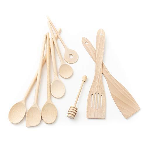 Tuuli Kitchen Ensemble de Ustensiles Cuisine Bois de hêtre (6x Cuillère de cuisine 18cm-35cm, Cuillère à miel, 2x Spatule)