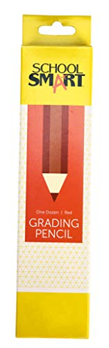 School Smart Grading Pencil with Eraser, Thin Tip, Red, Pack of 12