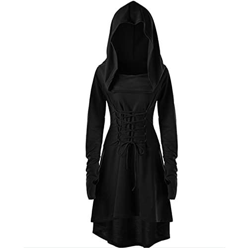 SHUAIG Vestido Medieval, Vestido gótico para Mujer, Vestido Victoriano, Ropa Medieval, Disfraz de Vampiro para Mujer, Vestido de Halloween para Mujer (S, Negro)