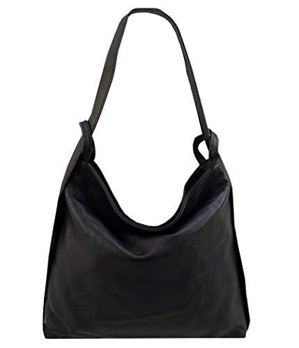 Freyday 2in1 Damen Handtasche Rucksack Designer Luxus Henkeltasche aus 100% Echtleder HR01 (Schwarz)