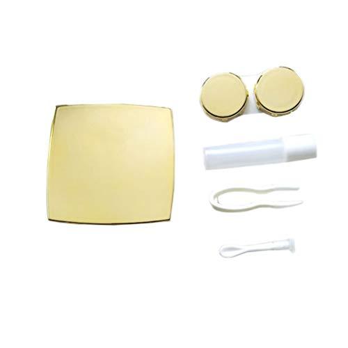 DOITOOL - Contenedores de lentes portátiles con espejo viaje elegante caja de lente caja contenedor con pinzas de succión Stick botella