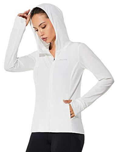 BALEAF Women's Zip Up Sun Shirts SPF UPF 50+ Hoodie Jackets Hiking Thumb Holes Lightweight Quick Dry Outdoor White L
