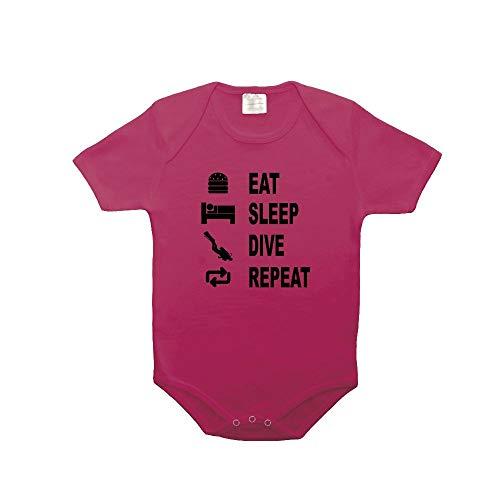 Mygoodprice Body bébé 100% Coton Eat Sleep plongée Fushia 0-3 Mois