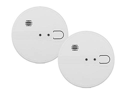 Juego de 2 detectores de Humo conectables a la Red (230 V o baterías, Detector de Alarma de 85 dB)