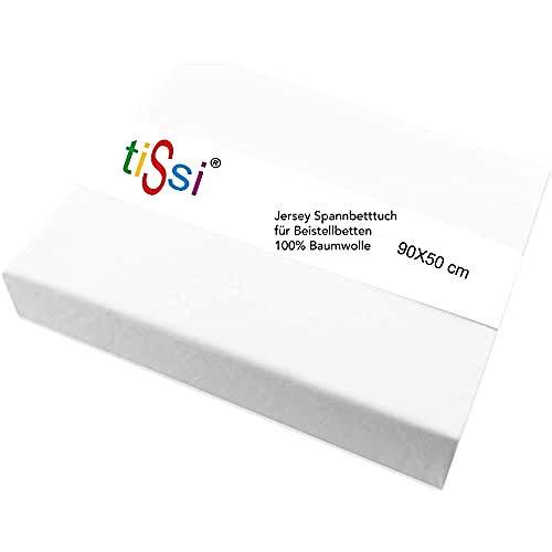 TiSsi MAXI BOXSPRING Spannbetttuch Beistellbett 90x50, weiß 100337