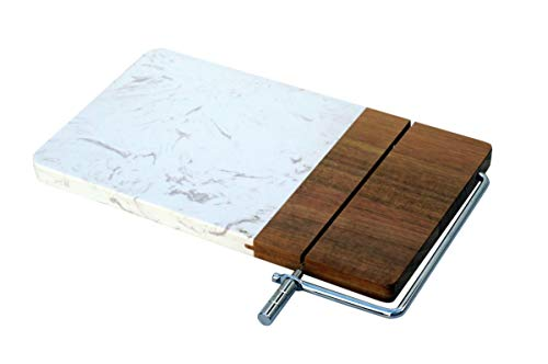Pacific Coast Homegoods Cheese Server with Wire Slicer   Large, 11 x 6 in.   Natural Acacia Wood and Marble   Prepare and serve cheese platters with convenience and elegance! Includes replacement wire