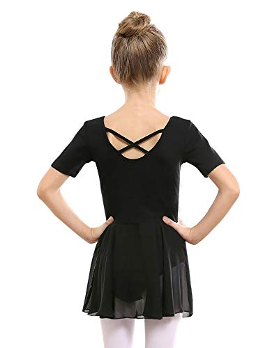 STELLE Girls Ballet Short Sleeve Dress Leotard for Dance, Gymnastics and Ballet(Toddler/Little Girl/Big Girl)(110cm, Black)