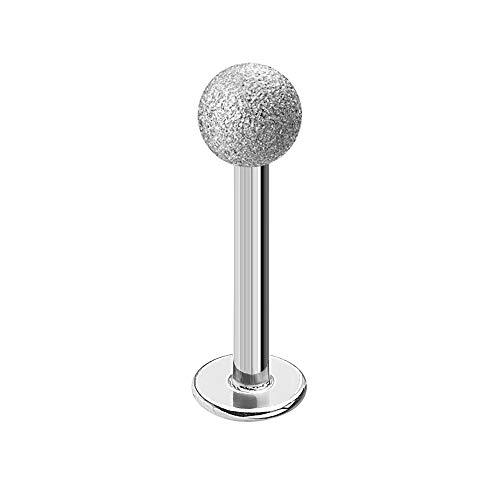 Treuheld   Piercing LABRET in Diamant-Optik - Silber - 9 Größen & Längen - Kugel zum Schrauben - sandgestrahlt Matt - LIPPENPIERCING - Intimpiercing & Zungenpiercing - [01.] - 1.2 x 6 mm (Kugel: 3mm)