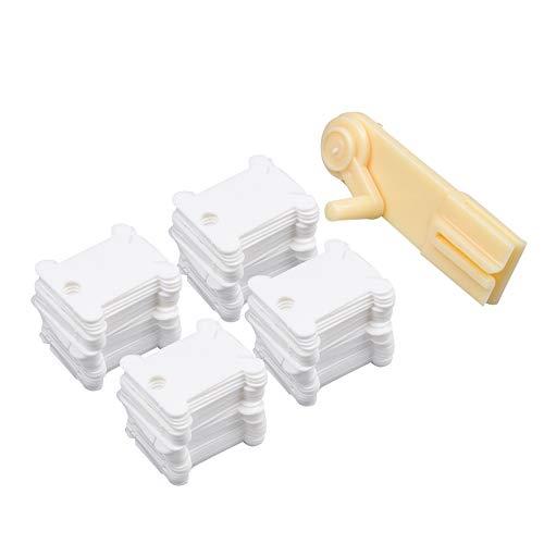 Onepine 120 Pezzi Bianco Bobine di Filo con 1 Avvolgitore Filo Interdentale per Organizzatore di Filo da Ricamo, Organizer di Filo per Cucito (120 Pezzi +1 Avvolgitore Filo)