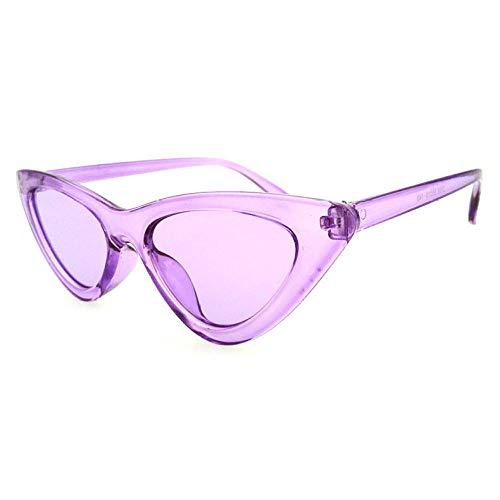 hqpaper Nuevas gafas de sol triangulares europeas y americanas para mujer, gafas de sol con forma de ojo de gato, gafas transparentes con lentes de océano, marco rojo_Disparo físico