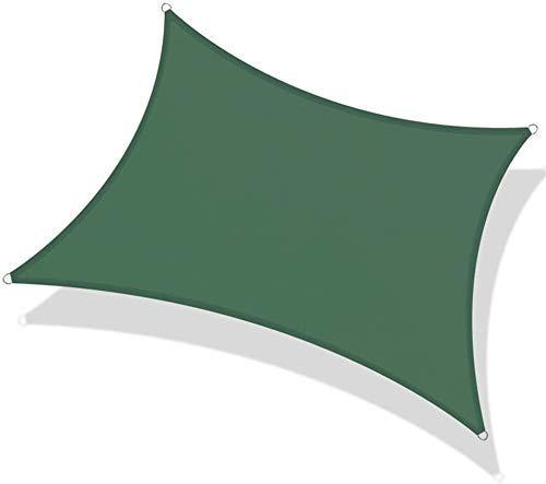 98% Ultravioleta Toldo de Vela Rectangular Bloque Toldo Impermeable con Cuerda Libre, for Patios al Aire Libre Jardín Pergola Piscina (Color: Verde, Tamaño: 3.6X3.6M) li