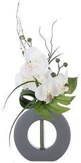 AC-Déco Composition Florale en Vase Gris - Orchidée Artificielle - Modèle Aléatoire