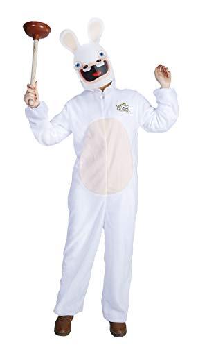 P'tit Clown- Costume Lapins Crétins déguisement, Adulte Unisexe, 44441, Blanc-Beige, 140/160 cm
