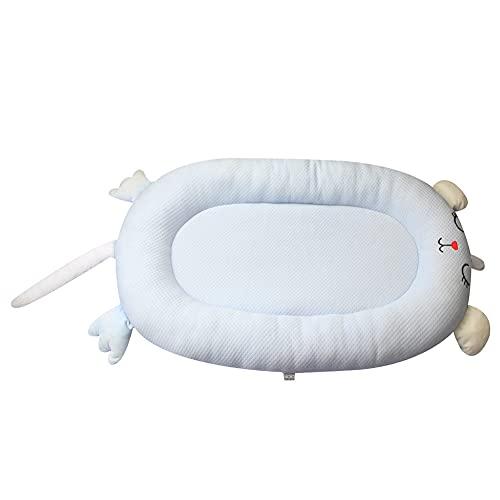 XYYZX Reductor Cuna Bebe - Cama biónica 100% algodón, animal de dibujos animados para bebé en la cama Cama portátil extraíble y lavable para aislamiento de bebés -B/blue