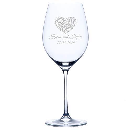 Personello® Rotweinglas mit Gravur (Motiv Herz), Weinglas mit Name und Datum graviert (personalisiert), Hochzeitsgeschenk, Geschenk für Verliebte, Paare, zum Valentinstag, Jahrestag oder Hochzeit