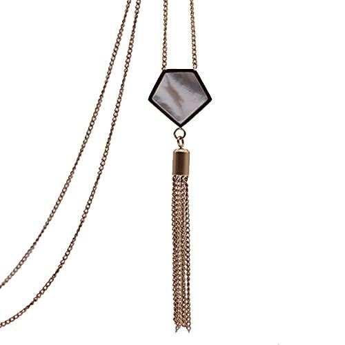 TTbaoz Collar de pentágono con Borla de Concha de Oro Rosa, Colgantes Largos para Mujer, joyería Retro de Moda para Bodas diarias