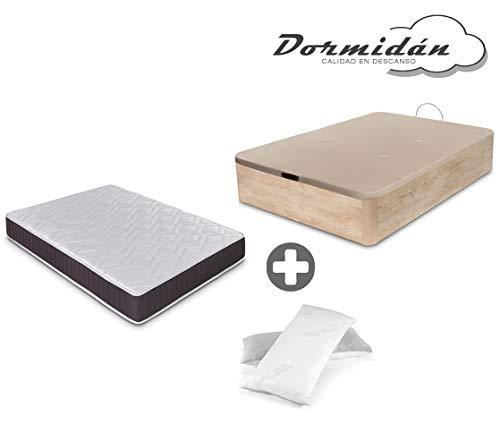 Dormidán - Pack de canapé abatible de Gran Capacidad + colchón viscoelástico + Almohada visco Copos de Regalo (105_x_190_cm, Roble)