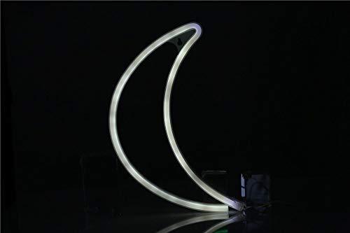 OUSENR Led Créative Lune Nuit Lumière Néon Usb Batterie Lune Nuit Lampe Murale À Led Lampe Murale À Led Home Décor De Mariage,Blanc Powered By Batteries
