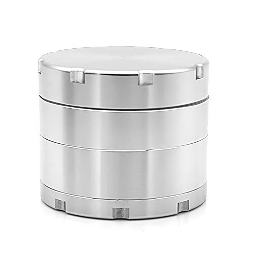SK Depot Herb Grinder 2 Inch/2.36 Inch Spice with 4 Layers Metal Grinder add Scraper, with Magnetic Lid/Razor-Sharp 64 Teeth/Zinc Alloy Material Made (2.0 in, Silver)
