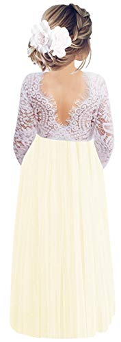 2Bunnies Girl Peony Lace Back A-Line Straight Tutu Tulle Party Flower Girl Dresses (Ivory Long Sleeve Maxi, 5)