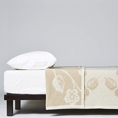 LANEROSSI - Manta Individual Augusta, de Mezcla de Lana, 210 x 150 cm, Color Beige