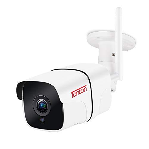 Tonton Überwachungskamera Aussen, WLAN IP Kamera 1080P Outdoor WiFi mit IP66 wasserdicht, Bewegungserkennung, Zwei Wege Audio, SD-Kartenslot, ONVIF und RTSP, Fernzugriff via Smartphones,Tablets und PC
