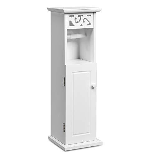 DREAMADE Hochschrank Badschrank Weiß, Toilettenschrank Badezimmerschrank mit Papierrollenhalter und Schubladen, Holzschrank Standschrank für Bad Küche Wohnzimmer, Weiß