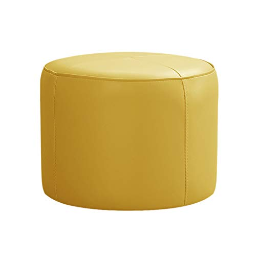 PLHMS Round Ottoman Footstool Seat, PU Leather Foot Rest Bench, Modern Upholstered Vanity Chair Pouf for Living Room Sofa Bedroom Home Office,C