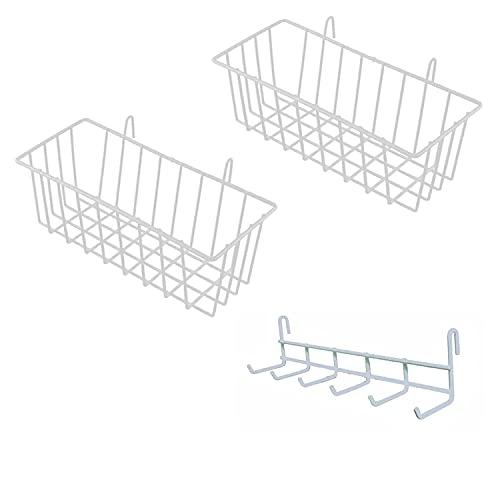 WEST 3 pieces,cesta almacenaje Cesta Colgante y Estante Colgante,para diseño Parrilla de pared de metal,celosía Foto de pared,Accesorios Rejilla de Pared,Panel de Rejilla,muebles de cocina baño,blanco