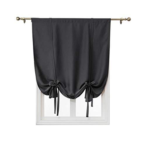 HM&DX Einfarbig Blackout Römische Vorhänge Kurze, Schlaufen Wärmeisoliert Einstellbare Tie Up Vorhang Drapieren Vorhänge Schatten-schwarz 140x140cm(55x55inch)