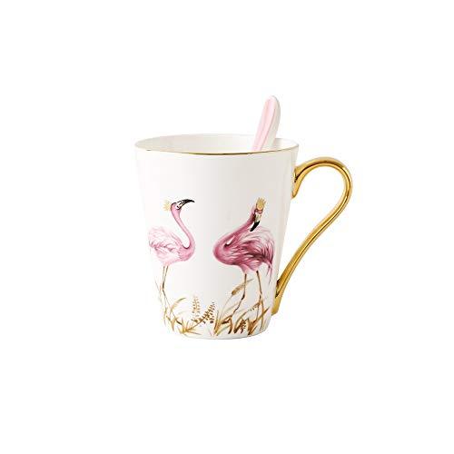LRHD Creative-Flamingo Phnom Penh Cup Porzellan-Becher Keramik Getreide Cup Frühstücks-Becher Große Kapazität Cups Frühstück Cup Continental Haushalt Paare Personalisierte Kaffeetasse Geburtstags-Gesc