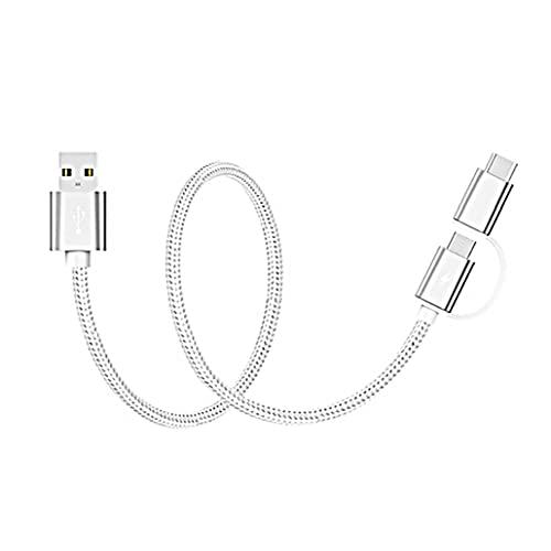 Tuimiyisou USB Tipo C Cable USB C 2 en 1 Cable [Micro USB y Tipo C] Cargador rápido Cable Tipo A a C Alambre (Plata) está Totalmente habilitado
