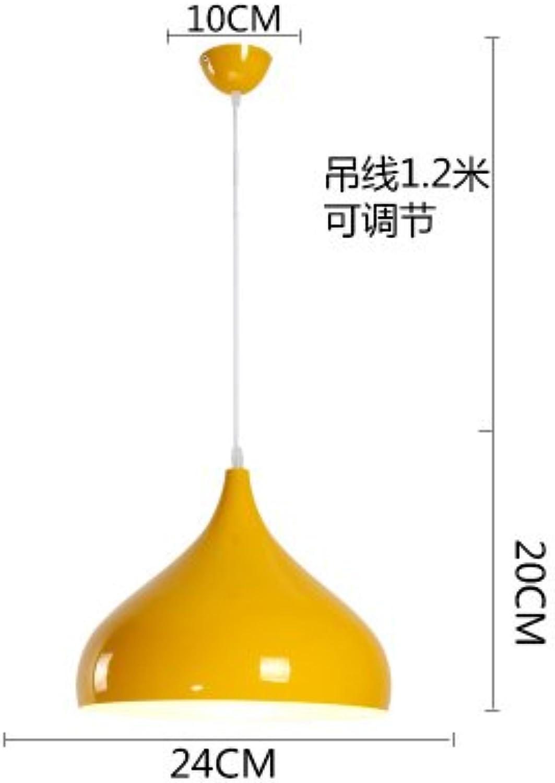 Luckyfree Moderne, einfache Single Head Pendelleuchte Zimmer Bar Cafe Restaurant Küche Flur Lampen Deckenleuchte Kronleuchter, Gelb Durchmesser 24 cm + 7 W weies Glühbirne