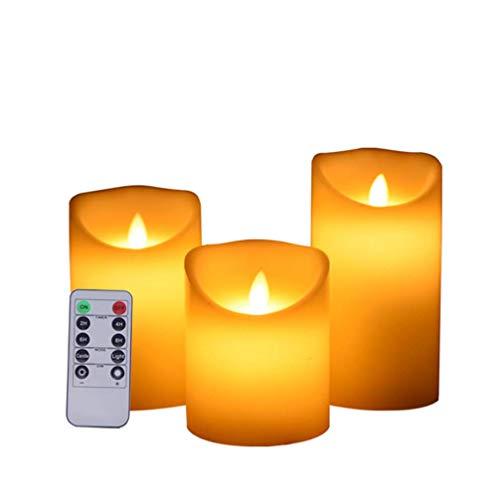 YLLN XXLYY Juego de 3 Velas LED sin Llama Control Remoto Velas de Pilar de temporización Velas electrónicas para la decoración de la Mesa de Comedor Día de San Valentín Fiesta de Bodas Navidad