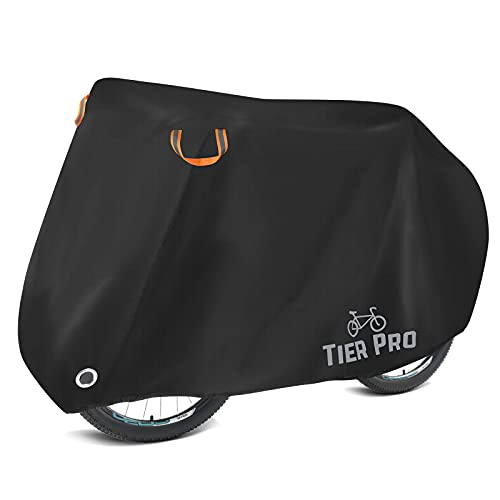 TIER PRO Bike Cover for 2 Bikes, 190T Nylon Waterproof Bicycle Cover Anti Dust Rain UV Protection for Mountain Bike and Road Bike with Lock-holes Storage Bag I Bike Covers for Outside Storage