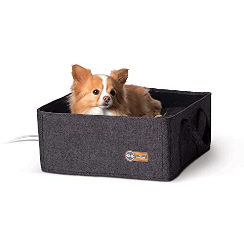 K&H PET PRODUCTS Thermo-Basket Indoor Heated Cat Bed, Foldable, Gray, 15in x 15in, 4W