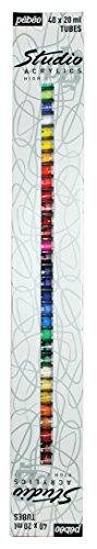 Pébéo Studio Acrylics Etui 40 Tubes de 20 ml Assortis et Pinceau