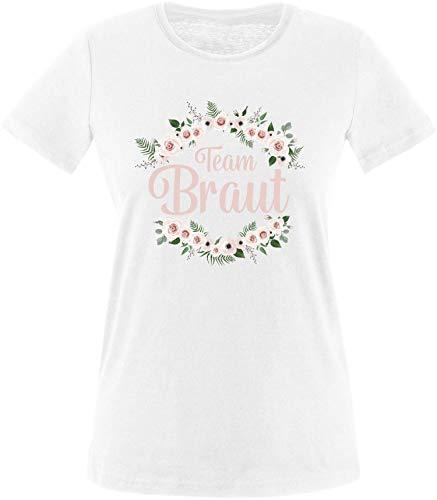 EZYshirt® Junggesellinnenabschied JGA Team Braut Blumenkranz Pastell Rosa T-Shirt Damen
