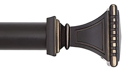 Ivilon Decorative Window Curtain Rod - Carved Square Finials, 1 1/8 in Rod, 72 to 144 in. Antique Black