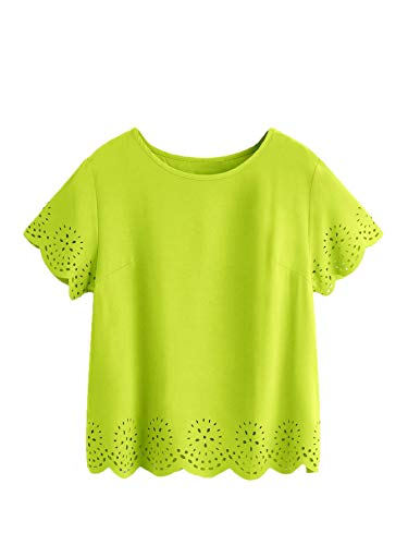 SheIn Women's Casual Round Neck Summer Short Sleeve Scallop T-Shirt Top Blouse Bright Green Medium