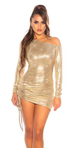 Koucla Damen Kleid One-Shoulder Minikleid Party Glitzerkleid Gold (M)