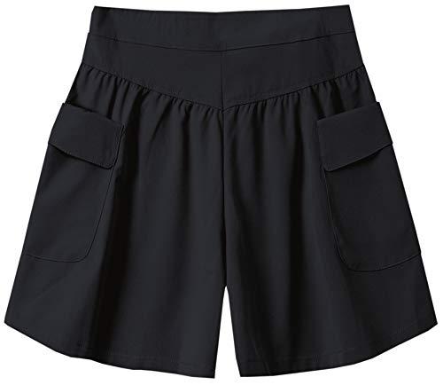 Cromoncent Womens Elastic Sports High Waist Plus Size Wide Leg Pleated Pocket Shorts Black Large