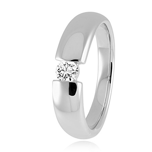 Diamond Line Damen Ring Solitaire 585 Weißgold 1 Brillant 0.15 ct. getöntes Weiß Lupenrein, Gr. 60