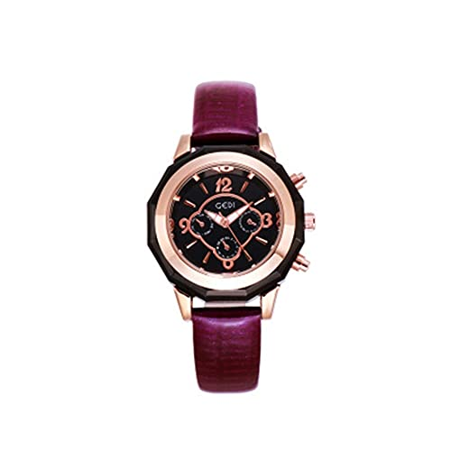 Cronómetro de cuero atmosférico para mujer, resistente al agua, reloj cronógrafo de cuarzo, esfera grande, correa femenina, reloj de pulsera (color: A)