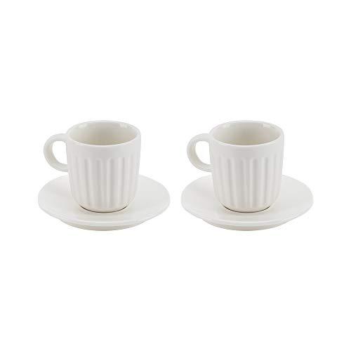 Dualit Doppio Kaffeetassen, Set mit 2 x Tassen und Untertassen aus feinem Porzellan, mikrowellen- und spülmaschinenfest, auch für Espresso, Cappuccino und Latte geeignet
