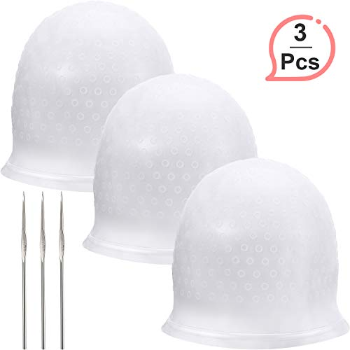 Silicone Highlight Cap Reusable Highlight Hair Cap Salon Hair Coloring Dye Cap with Hooks for Women Girls Dyeing Hair (3 Sets)