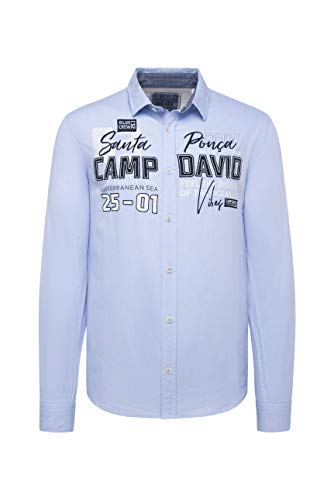 Camp David Herren Langarmhemd mit Label-Applikationen