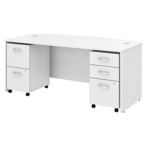 Bow Front Desk with 2 and 3 DWR Mobile Pedestals BSHSTC012WH 72W x 36D