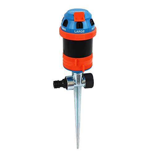 GRÜNTEK 6-Fach Multifunktions-Kreisregner, Rasensprenger mit Metall-Spike, Bewässerungsradius 12,5 m, für Flächen bis 491 m2, mehrere Sprinkler kombinierbar